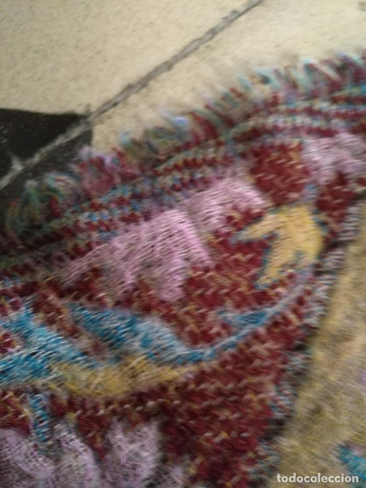 Antigüedades: manton mantoncillo fular pañuelo rectangular lana brocado 2 ver caras 170 x 49 cm aproximadamente - Foto 5 - 156848606