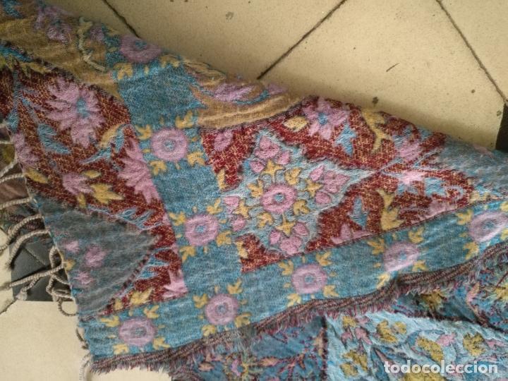 Antigüedades: manton mantoncillo fular pañuelo rectangular lana brocado 2 ver caras 170 x 49 cm aproximadamente - Foto 12 - 156848606