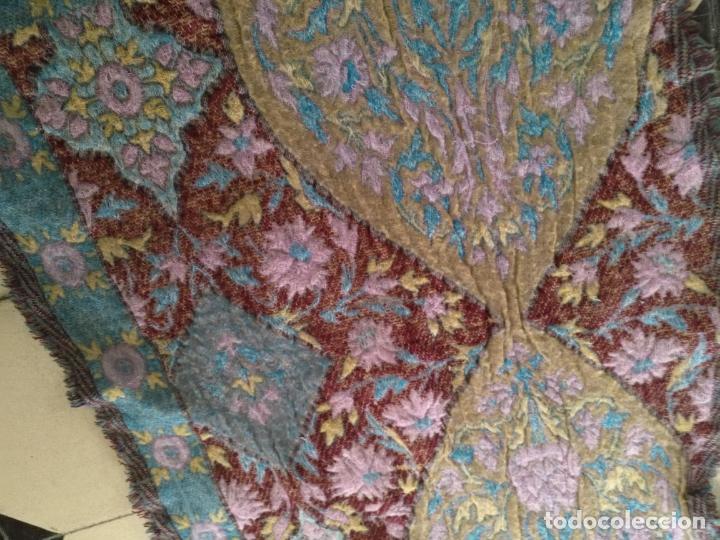 Antigüedades: manton mantoncillo fular pañuelo rectangular lana brocado 2 ver caras 170 x 49 cm aproximadamente - Foto 17 - 156848606