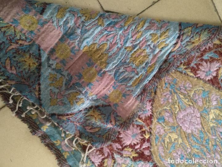 Antigüedades: manton mantoncillo fular pañuelo rectangular lana brocado 2 ver caras 170 x 49 cm aproximadamente - Foto 19 - 156848606