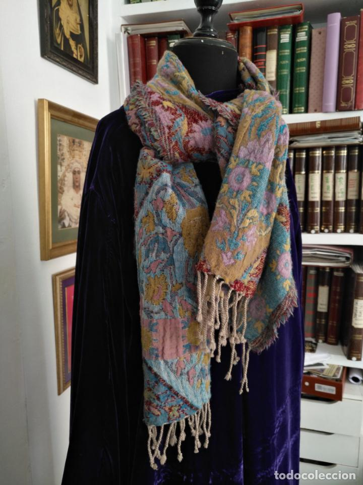 Antigüedades: manton mantoncillo fular pañuelo rectangular lana brocado 2 ver caras 170 x 49 cm aproximadamente - Foto 24 - 156848606