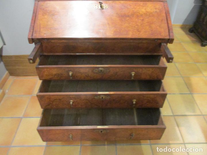 Antigüedades: Escritorio Vitrina - Canterano Librería Victoriano, Inglaterra - Madera en Raíz de Nogal -S. XIX - Foto 4 - 156856326