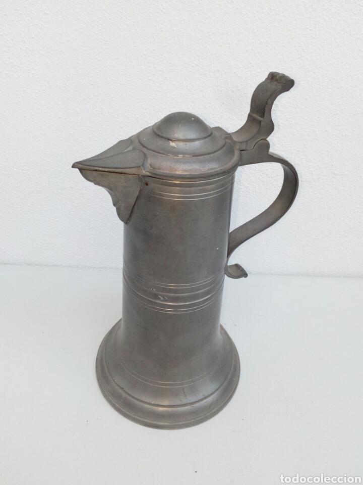 GRAN JARRA DE CERVEZA ALEMANA DE ESTAÑO ESTILO BARROCO. MARCA EN BASE (Antigüedades - Hogar y Decoración - Copas Antiguas)