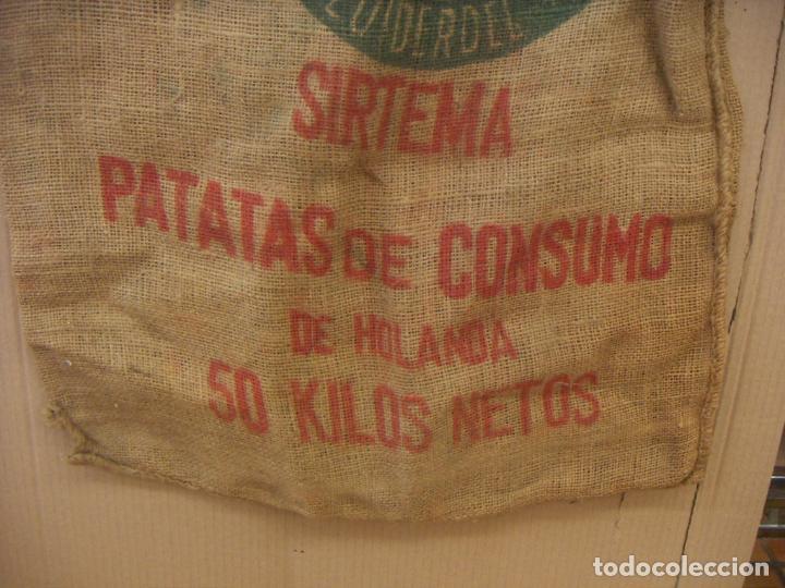 Antigüedades: SACO ARPILLERA YUTE PATATAS DE CONSUMO DE HOLANDA 50 KILOS - Foto 3 - 156886998