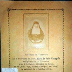 Antigüedades: 1880 ANTIGUO RELICARIO CON FOTO Y PIEZA DE ROPA - MARIE DE SALES CHAPPUIS SIGLO XIX. Lote 156901962