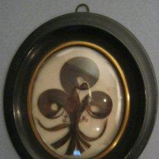 Antigüedades: ANTIGUO CUADRO REALIZADO CON CABELLO S. XIX. Lote 156906290