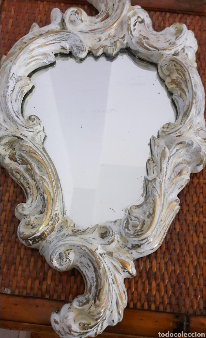 Antigüedades: Cornucopia antigua de bronce decorada en blanco envejecido 37cm x 20 cm - Foto 3 - 156911448