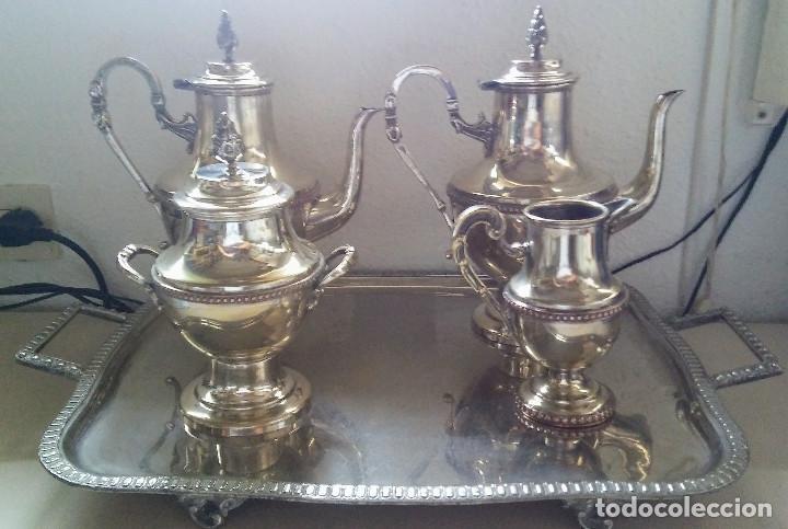 JUEGO DE CAFE BAÑADO EN PLATA CON SELLO DEL FABRICANTE (Antigüedades - Platería - Bañado en Plata Antiguo)