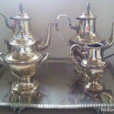 Antigüedades: JUEGO DE CAFE BAÑADO EN PLATA CON SELLO DEL FABRICANTE. Lote 165488644