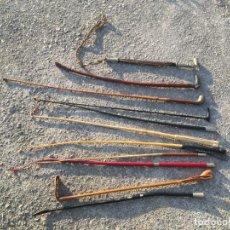Antigüedades: PALOS DE EQUITACIÓN DE MARCA ALGUNOS, DETALLES EN PLATA SWAINE HORSE HUNTING WHIP. Lote 156977990