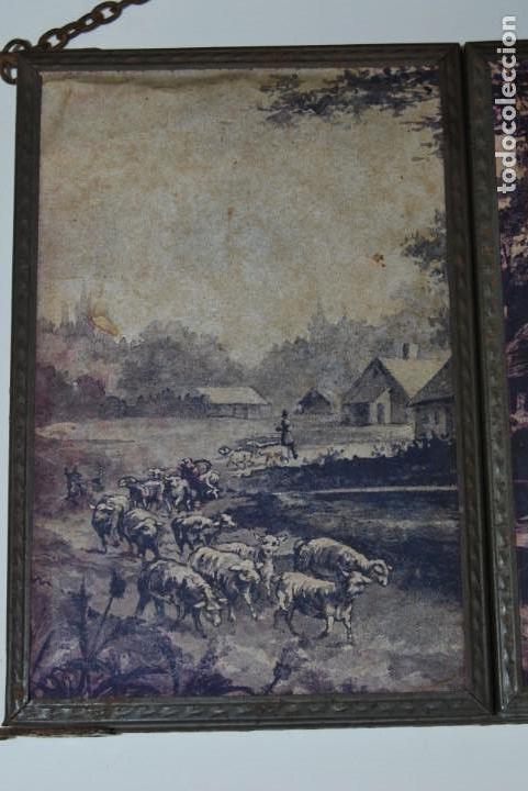 Antigüedades: ESPEJO TRÍPTICO - MARCO METAL - TRES ESPEJOS - PAPEL EXTERIOR ORIGINAL - CIRCA 1900 - Foto 7 - 157071046