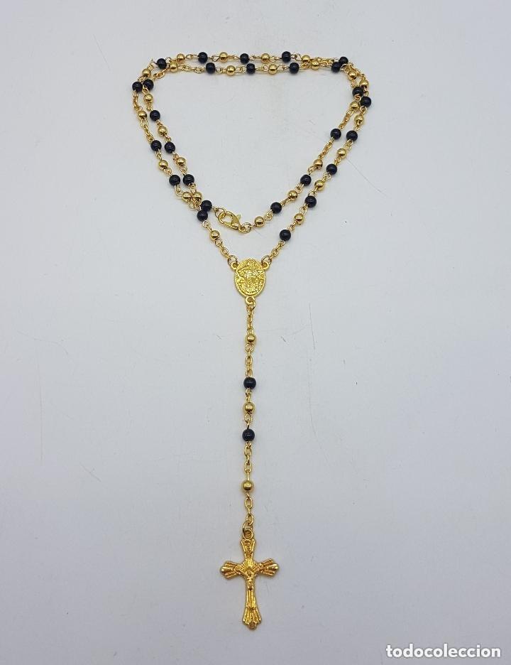 Antigüedades: Precioso rosario vintage con baño de oro de 18 quilates. - Foto 3 - 157081906