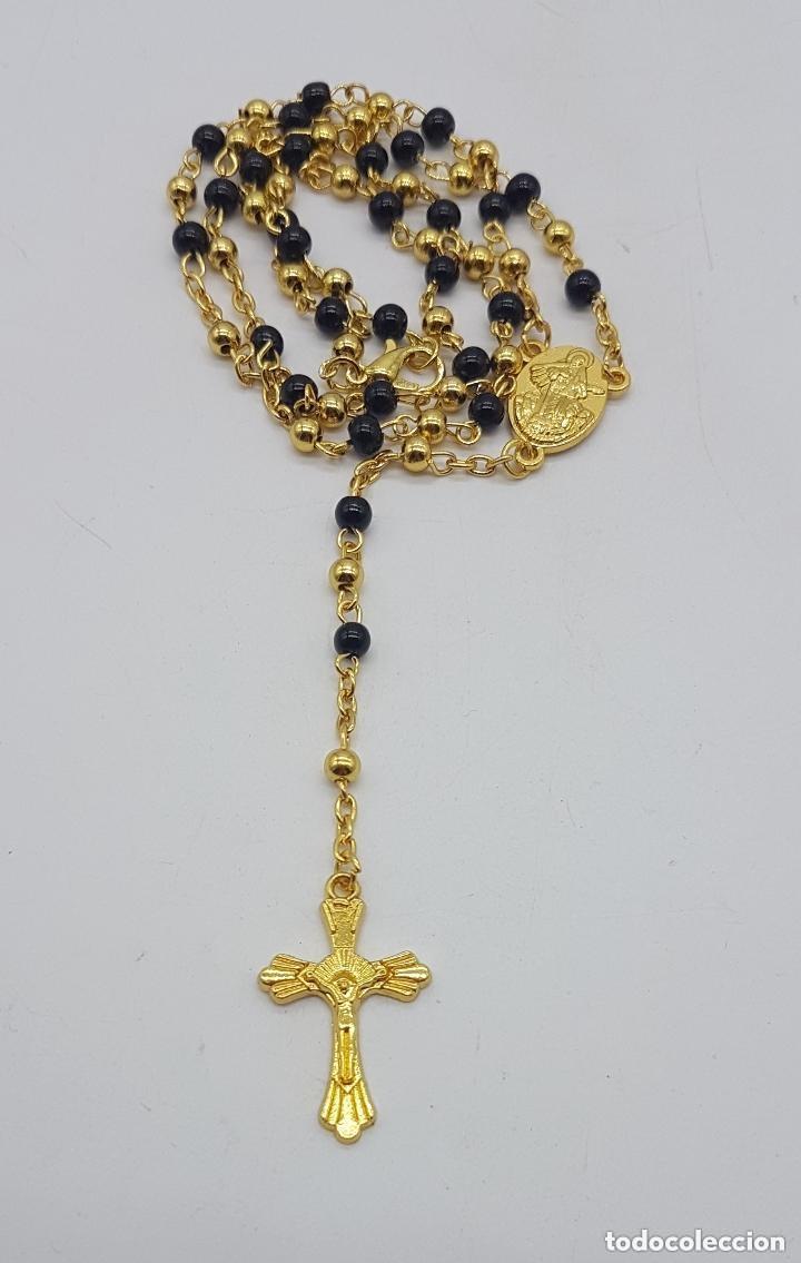 Antigüedades: Precioso rosario vintage con baño de oro de 18 quilates. - Foto 4 - 157081906