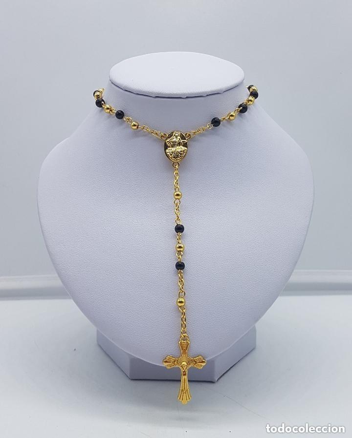 Antigüedades: Precioso rosario vintage con baño de oro de 18 quilates. - Foto 2 - 157081906