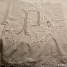 Antigüedades: *SABANA DE LINO BORDADA A MANO.2,20 M. (RF:LL45/E). Lote 157219262