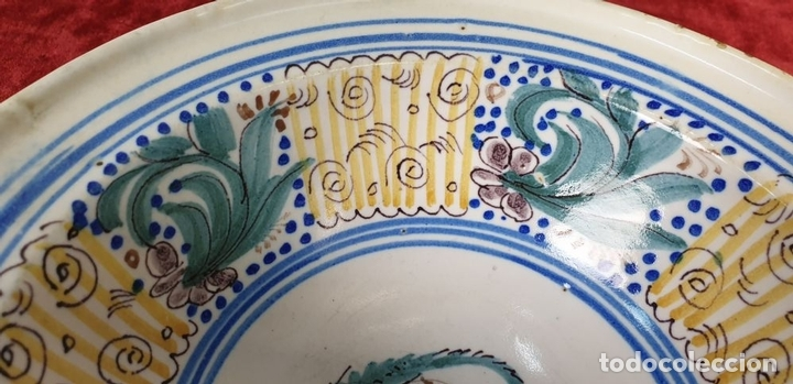 Antigüedades: BOL DE CERÁMICA CATALANA ESMALTADA. PINTADA A MANO. SIGLO XIX. - Foto 4 - 171408828
