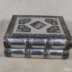 Antigüedades: CAJA JOYERO FORRADO CON PLATA NEPALI . Lote 157312102