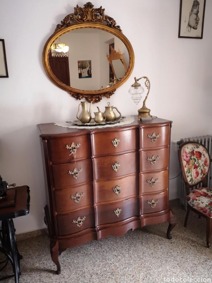 ESPEJO OVAL PAN DE ORO (Antigüedades - Muebles Antiguos - Espejos Antiguos)