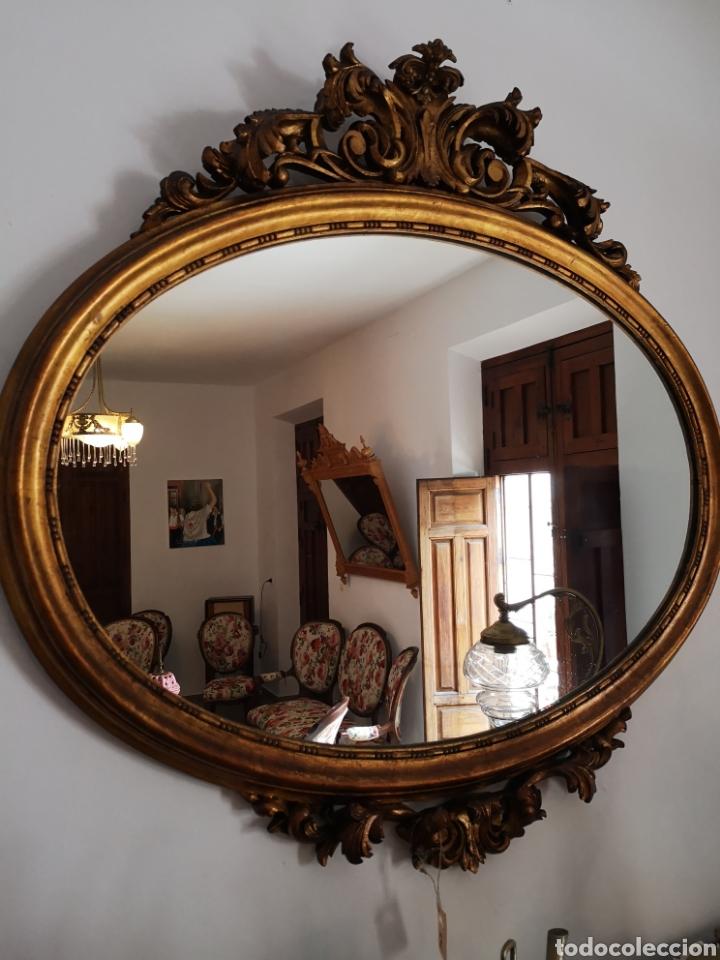 Antigüedades: Espejo oval pan de oro - Foto 2 - 157321324