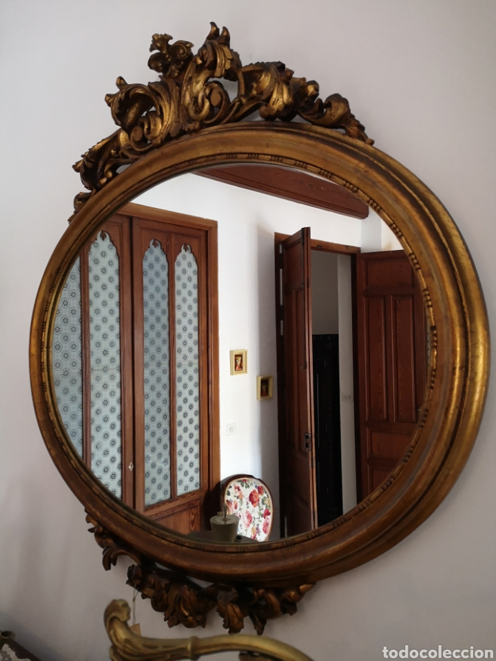 Antigüedades: Espejo oval pan de oro - Foto 3 - 157321324