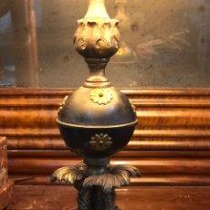 Antigüedades: LAMPARA DE SOBREMESA DE BRONCE CON PECES.. Lote 157328065
