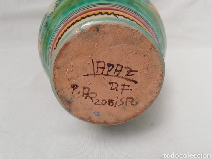 Antigüedades: JARRON DE CERAMICA. CENTRO DE MESA. DOBLE ASA DE PUENTE DEL ARZOBISPO. 35CM. - Foto 7 - 157345382