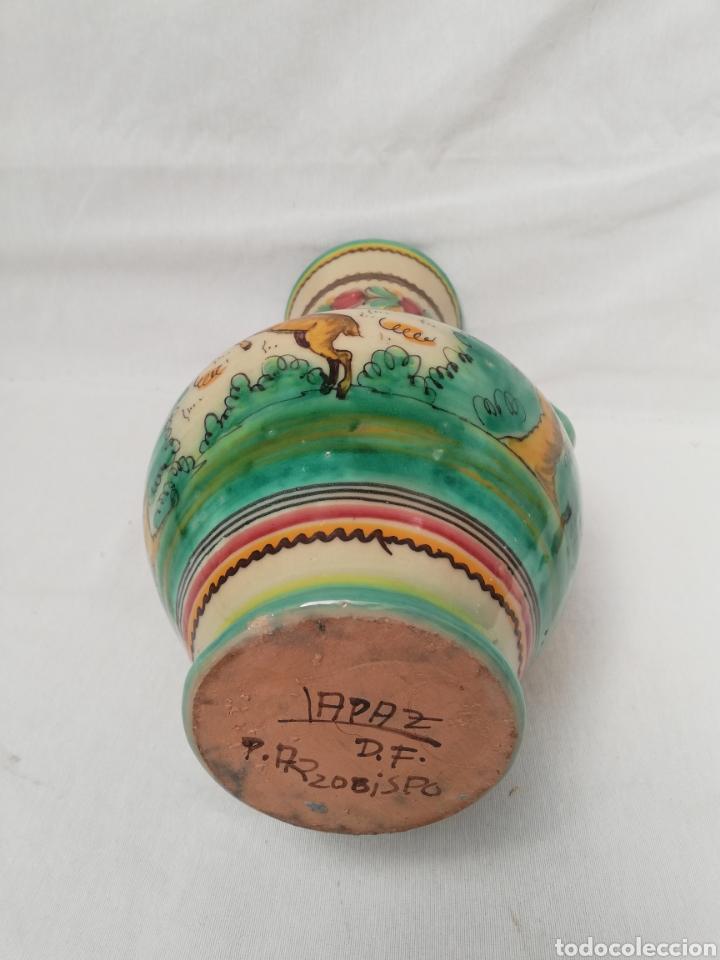 Antigüedades: JARRON DE CERAMICA. CENTRO DE MESA. DOBLE ASA DE PUENTE DEL ARZOBISPO. 35CM. - Foto 8 - 157345382