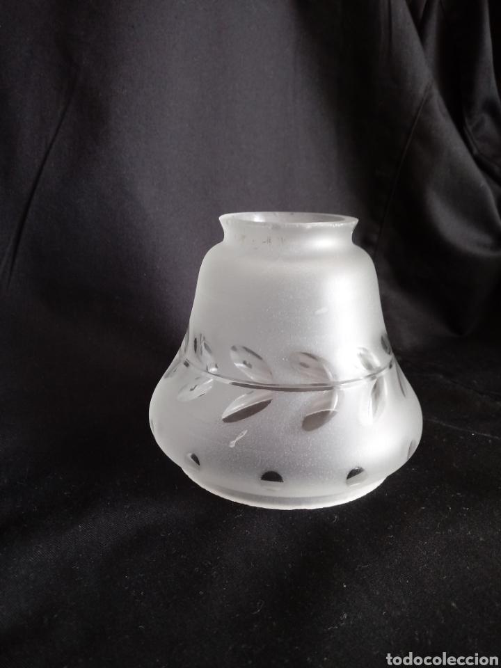 TULIPA DE CRISTAL AL ÁCIDO TALLADO (Antigüedades - Iluminación - Lámparas Antiguas)