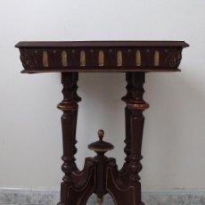 Antigüedades: PRECIOSA MESA ALFONSINA S.XIX DETALLES DORADOS Y PARTE SUPERIOR CON BELLO MARMOL VETEADO, VELADOR. Lote 157451654