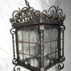Antigüedades: ANTIGUO FAROL DE FORJA CON CRISTALES ORIGINALES.. Lote 157454706
