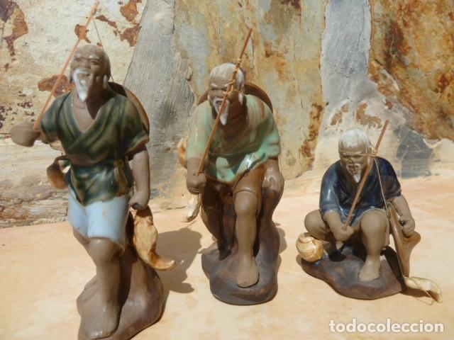 LOTE TRES PESCADORES CHINOS. WAN JIANG? (Antigüedades - Porcelanas y Cerámicas - China)