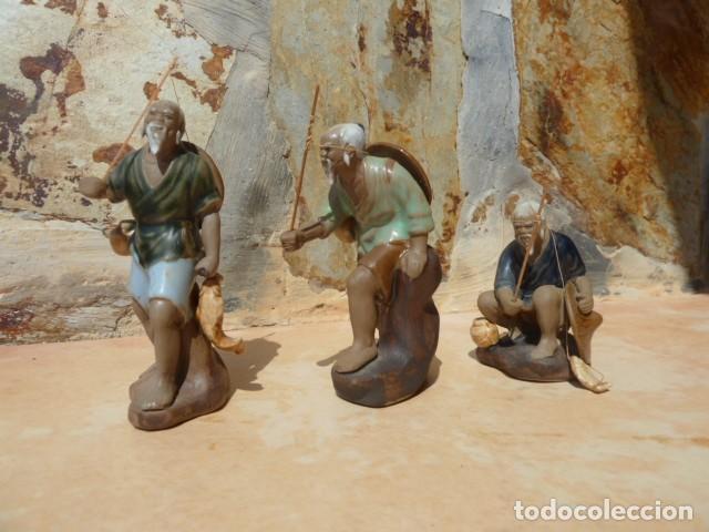 Antigüedades: Lote tres pescadores chinos. Wan Jiang? - Foto 2 - 157505962
