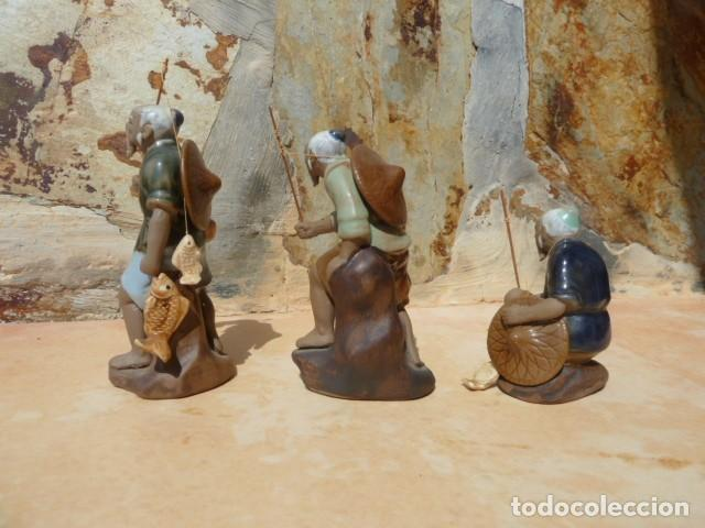 Antigüedades: Lote tres pescadores chinos. Wan Jiang? - Foto 3 - 157505962