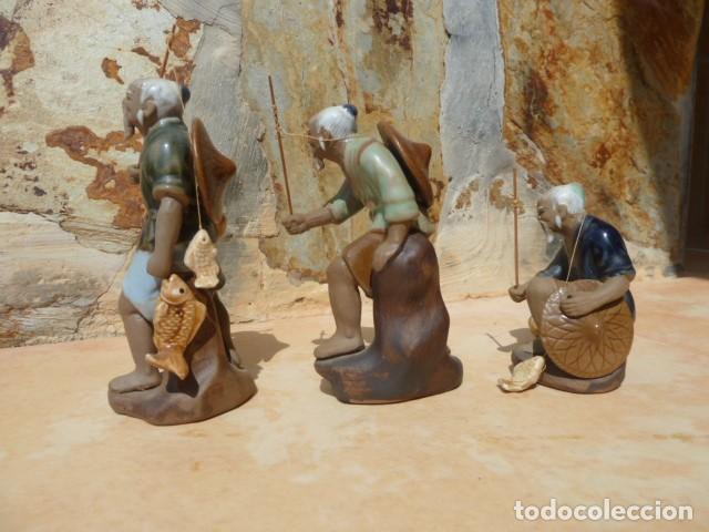 Antigüedades: Lote tres pescadores chinos. Wan Jiang? - Foto 5 - 157505962