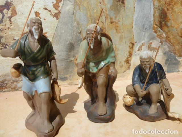 Antigüedades: Lote tres pescadores chinos. Wan Jiang? - Foto 8 - 157505962