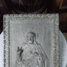 Antigüedades: CORAZÓN DE JESUS-ALUMINIO, 39X33 CM. BUEN ESTADO. Lote 157605434