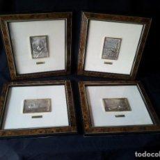 Antigüedades: 4 CUADROS DECORATIVOS OBRA ORIGINAL EN PLATA AG.LEY 930 - MOTIVOS BARCOS. Lote 157654158