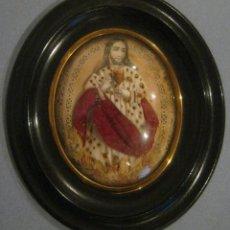 Antigüedades: ANTIGUO CUADRO RELICARIO SAGRADO CORAZÓN S. XIX. Lote 157654758