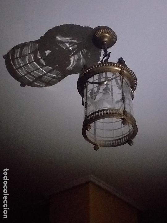 Antigüedades: Lampara Farol de bronce y cristal curvado en 1 pieza - Foto 4 - 146146022