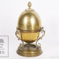 Antigüedades: ANTIGUO UTENSILIO PARA COCER HUEVOS - FORMA DE HUEVO. LATÓN Y BRONCE - PRIMERA MITAD S. XX. Lote 157717170