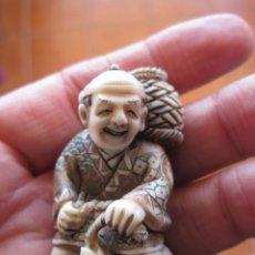 Antigüedades: NETSUKE JAPONES TALLADO EN MARFIL , SIGLO XIX, PERIODO MEIJI, CON CERTIFICADO DE AUTENTICIDAD. Lote 157726122