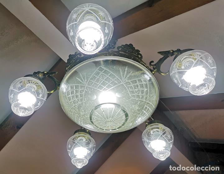 LÁMPARA DE TECHO DE CRISTAL Y BRONCE (Antigüedades - Iluminación - Lámparas Antiguas)