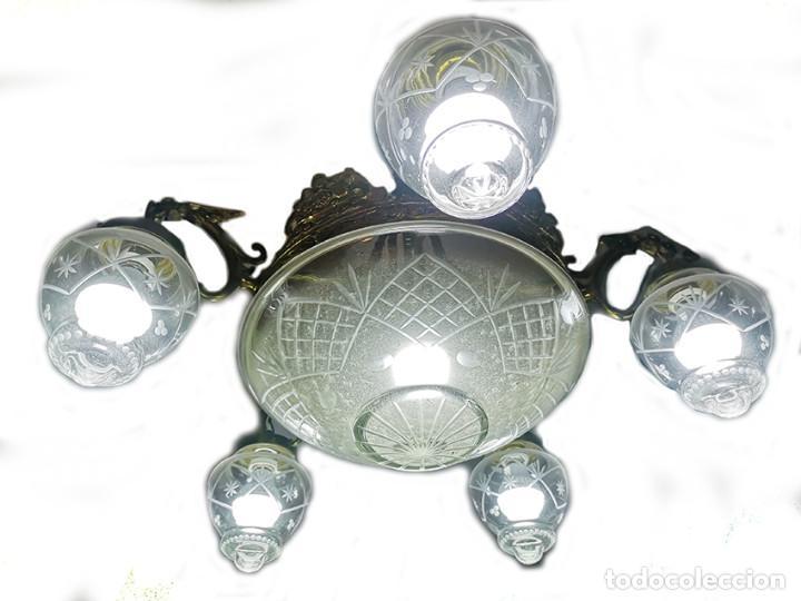 Antigüedades: Lámpara de techo de cristal y bronce - Foto 2 - 157748814
