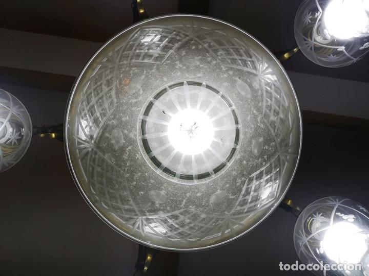 Antigüedades: Lámpara de techo de cristal y bronce - Foto 4 - 157748814