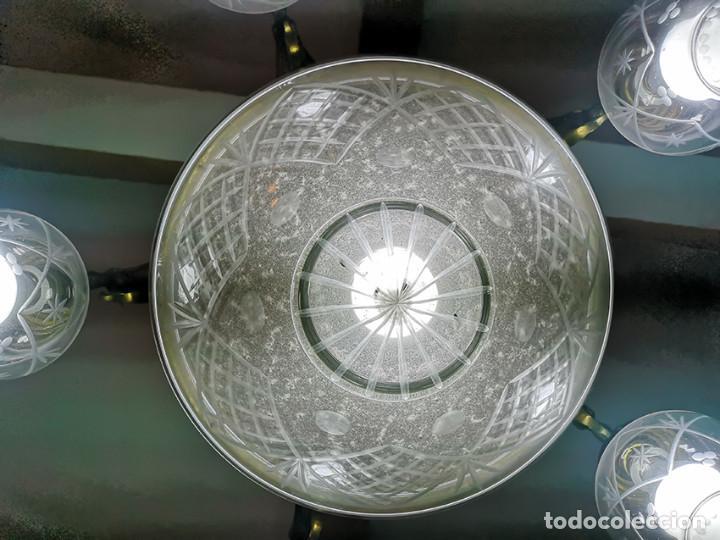 Antigüedades: Lámpara de techo de cristal y bronce - Foto 5 - 157748814