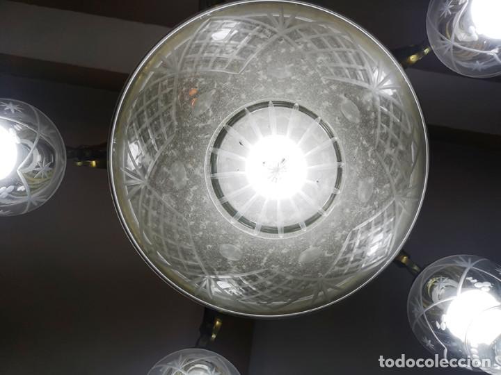 Antigüedades: Lámpara de techo de cristal y bronce - Foto 6 - 157748814