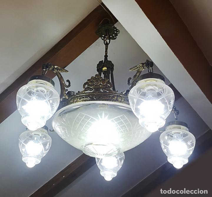 Antigüedades: Lámpara de techo de cristal y bronce - Foto 7 - 157748814
