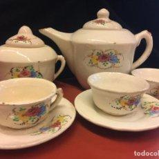 Antigüedades: ESPECTACULAR Y MUY ANTIGUO JUEGO DE CAFE, CON CAFETERA, AZUCARERO, 3 TAZAS Y 2 PLATOS. Lote 157757654