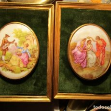 Antigüedades: EXCELENTE PAREJA DE CUADROS ANTIGUOS PORCELANA FIRMADA LIMOGES CON MARCOS DORADOS. Lote 157782314
