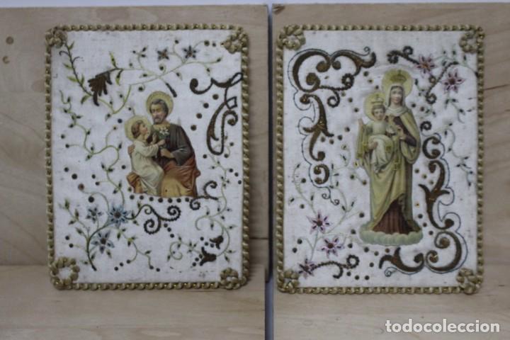 PAREJA DE ESCAPULARIOS DEL SIGLO XIX. SEDA Y BORDADOS EN HILO DE ORO , IMÁGENES CON TROQUELADO (Antigüedades - Religiosas - Escapularios Antiguos)